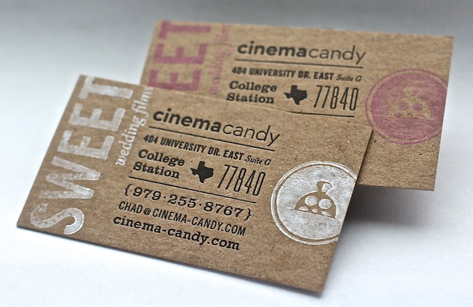 Cinema candy sweet wedding videos the new cinema candy typography letterpress business cards colourmoves